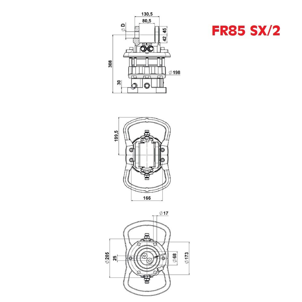 ROTATORE IDRAULICO FR-85-SXF-2-DISEGNI